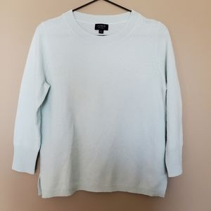 J. Crew Light Blue 100% Cashmere Sweater